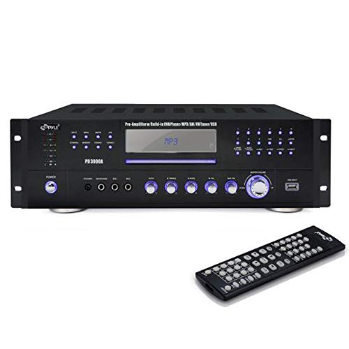 - Pyle 4 Channel Home Audio Power Amplifier - 3000 Watt Stereo Receiver w/ Speaker Selector, AM FM Radio, USB, Headphone, 2 Microphone Input for Karaoke, Surround Sound Home Theater System - PD3000A