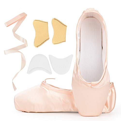 Girls Womens Dance Shoe Pink Satin Ballet Pointe Shoes with Ribbon and Toe Pads (US8.5 (Foot length:9.84 inch))