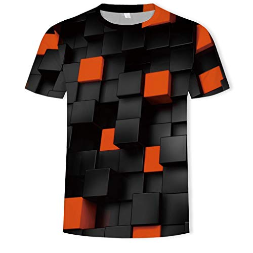 Mens Summer 3D Printed Short-Sleeved Fashion T-Shirt Comfort Blouse Top Orange