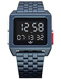 Mens 70s Style Stainless Steel Digital Watch with 5 Link Bracelet (Navy · adidas