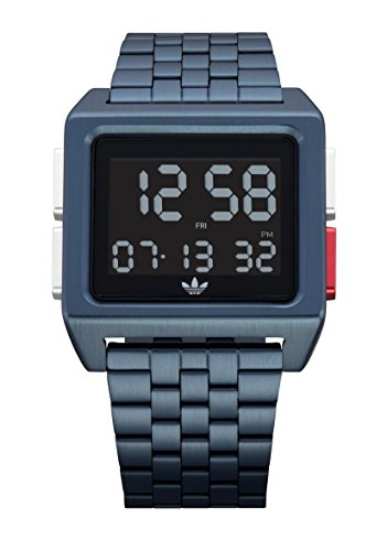 Adidas Watches Archive_M1. Men's 70's Style Stainless Steel Digital Watch with 5 Link Bracelet (Navy/Black/Silver/Red. 36 mm). ()