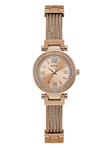 Guess Womens Crystal Bracelet Watch (GUESS Women's Stainless Steel Casual Wire Bangle Bracelet Watch, Color: Rose Gold-Tone (Model: U1009L3))