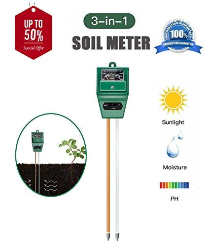 AKEfit Soil pH Meter, 3 in 1 Soil Test Kit for Moisture, Light & pH/Acidity, Gardening Tools for Home and Garden, Lawn, Farm, Plants, Plant Care Soil Moisture Sensor - Test Kits Soil
