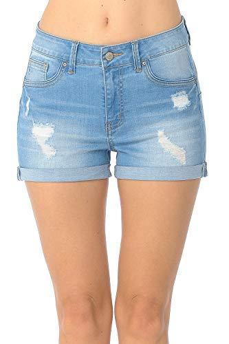 Wax Women's Juniors Butt I Love You High-Rise Body Enhancing Push-Up Ripped Denim Shorts ()