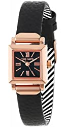 Vince Camuto Women's VC/5064RGBK Rose Gold-Tone Square Black Leather Strap Watch