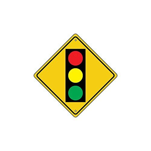 Traffic Light Ahead with Symbol Crossing Crossing Sign Metal Aluminum Road Sign Funny Yellow Diamond 12x12 Home Decor Tin - Traffic Metal Signs