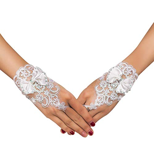 (VITORIA'S GIFT The Bride Marriage Dress Gathered Rhinestone Lace Sequins Satin Bridal Party Gloves Driving Wedding Gloves)