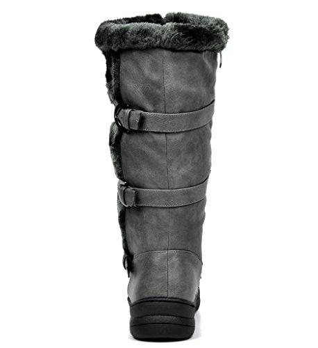 TRAUM-PAAR-Frauen Winter voll Pelz gefüttert Reißverschluss Schnee kniehohe Stiefel Minx-grauer Pu