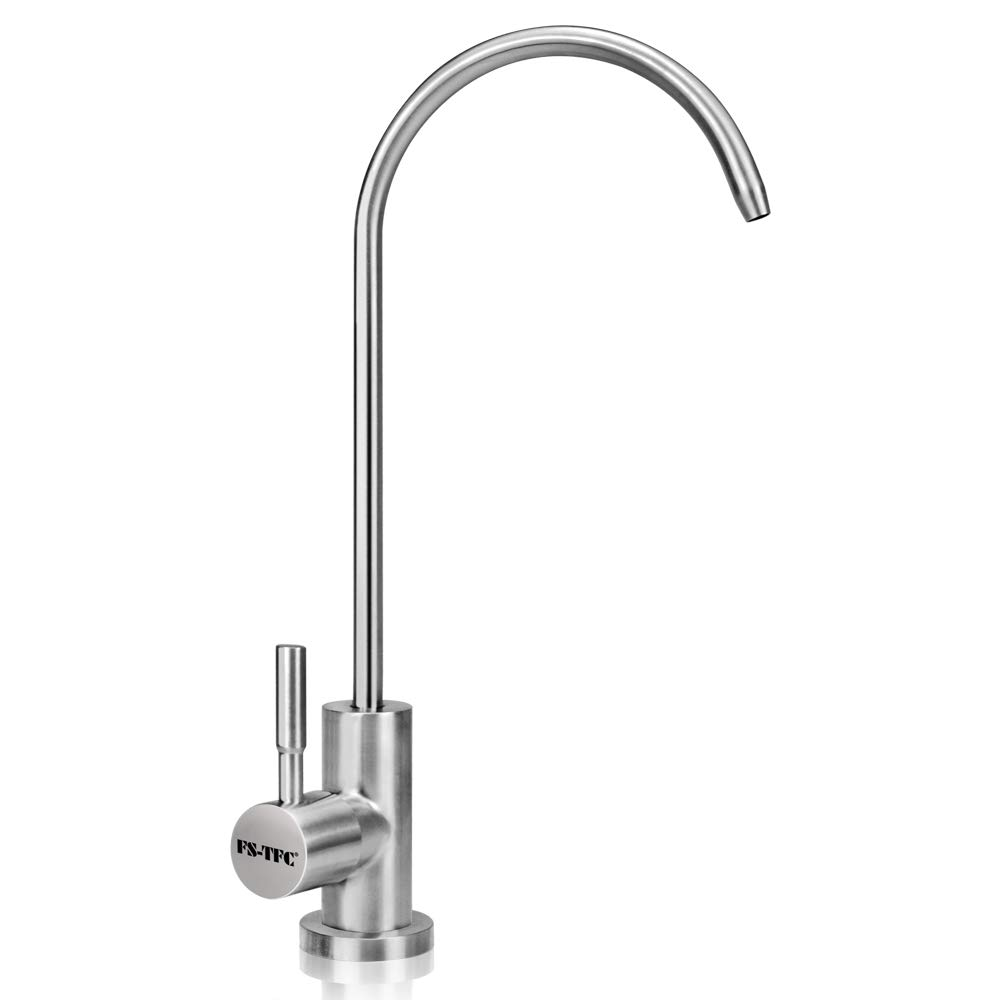 FS-TFC Kitchen Water Filter Faucet Kitchen Bar Sink Drinking Water Faucet Fits most RO Units or Water Filtration System Brushed Finish Not Chrome,Lead-Free,1 4-inch Tube