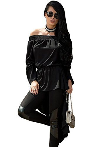 OUR WINGS Women Black Pussy Bow Accent Elastic Off Shoulder Blouse L