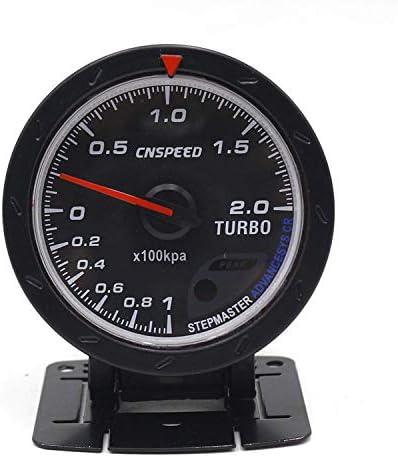 Luckya 60MM車ターボ車のトラックのボートのためのブースト計レッド&ホワイト照明BARタイプブラックフェイス圧力計カーメーター