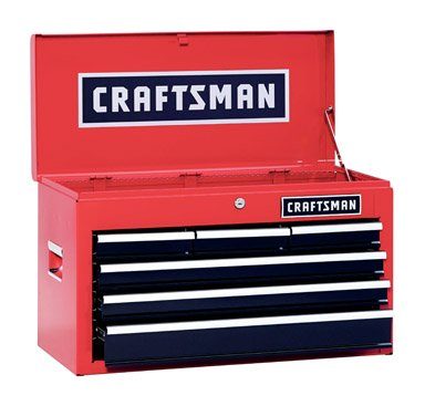 Craftsman 6 Drawer Heavy Duty Top Tool Chest, All Steel Construction & Smooth Glide Drawers 26 Inch Steel Tool Box