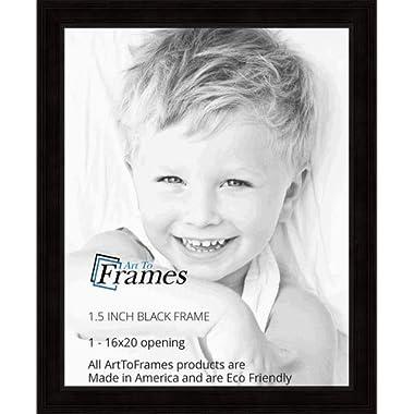 ArtToFrames WOM0066-78238-YBLK-16x20 Barnwood Wood Picture Frame, 16 x 20, Black