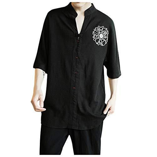 ANJUNIE Men's Vintage Linen Patchwork Half Sleeve T-Shirt ,Pure Color Comfort Loose Tops(2-Black,XL)