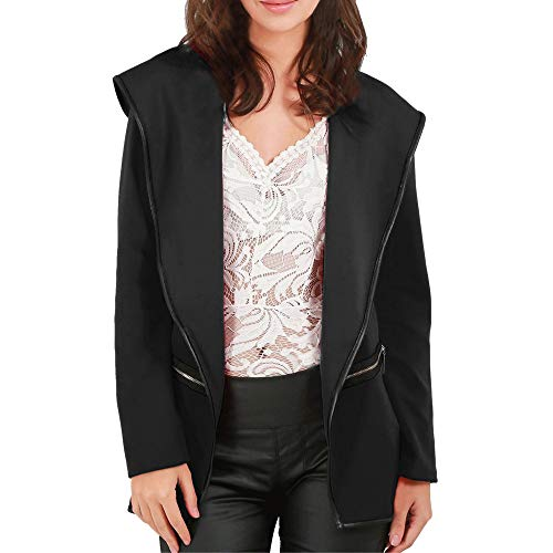 SSYUNO Big Sale Casual Solid Womens Ladies Open Front Long Sleeve Baggy Coat Hooded Cape Cardigan ()