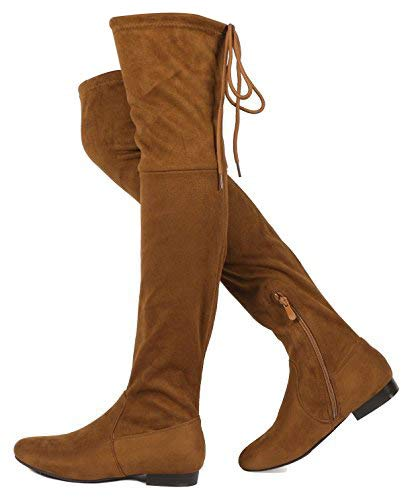 (DREAM PAIRS Women's Pauline Faux Suede Over The Knee Boots,Camel-p,8.5 M US)