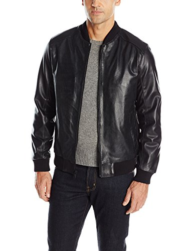 Emanuel by Emanuel Ungaro Men's Perforated Leather Moto with Knit Trim, Black, Large