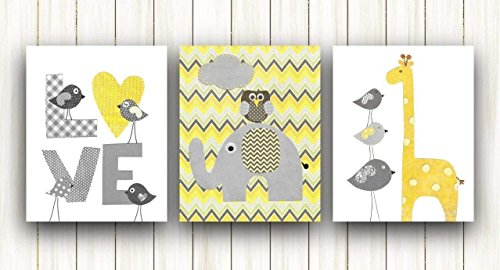 Yellow and Gray Chevron Baby Nursery Wall Art - Kids room decor - Set of three prints - Elephant Giraffe Birds Love ()