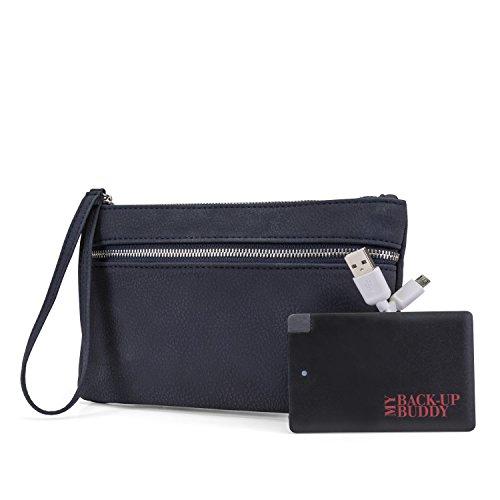 Mundi Back Up Buddy Womens Wallet Wristlet RFID Blocking With Portable External Phone Charger (Navy)