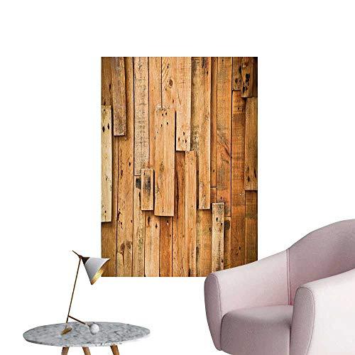 Anzhutwelve Wooden Home Decor Wall Lodge Style Hardwood Planks Image Print Farmhouse Grunge DesignSalmon Orange Burnt Orange W24 xL32 Wall Poster