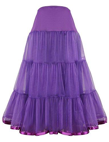 (Shimaly Women's Floor Length Wedding Petticoat Long Underskirt for Formal Dress (S-L, Purple))