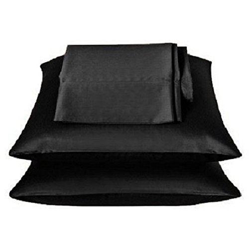 - 2 Pieces of 350 Thread Count Solid Color Soft Silky Satin Pillow Cases / Protector / Cover (Black, Queen)