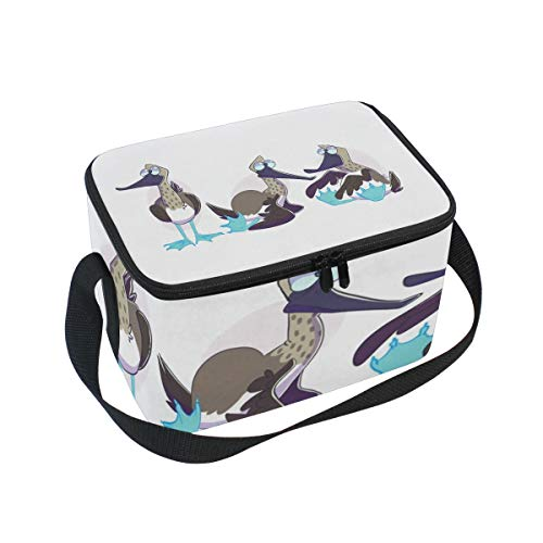 Footed Wine Cooler (Lunch Bag Blue Footed Boobies, Large Insulated Bento Cooler Box with Black Shoulder Strap for Men Women Kids, BaLin 10