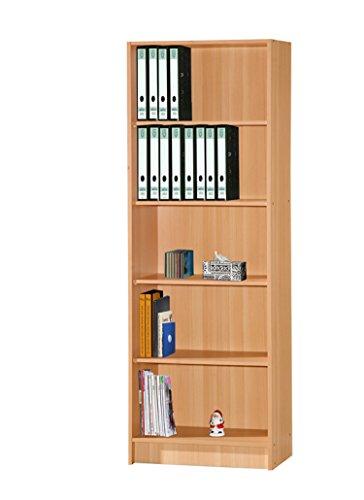 Beech Bookcase - Hodedah 5 Shelve Bookcase, Beech