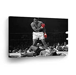 A Famous Picture - Muhammad Ali vs Sonny Liston / Red Gloves CANVAS PRINT First Minute First Round / Knockout/ Decorative Art Wall Decor Artwork- Ready to Hang - %100 Handmade in the USA - ALIH38
