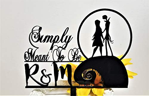 Jack and Sally You and Me Simply Meant To Be Wedding Cake Topper