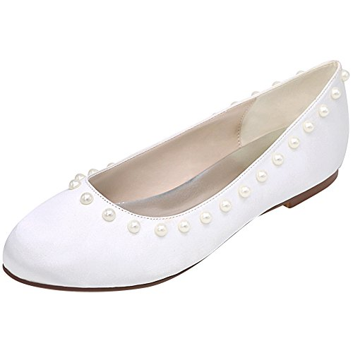 Loslandifen Mujeres Peep Toe Rhinestones Planos Satén Boda Ballet Zapatos De Novia Blanco