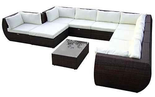 Perfekt Amazon.de: Baidani Gartenmöbel Sets 10c00015.00002 Designer XXL Sofa  Extreme, Hocker Mit Auflage, Couch Tisch Mit Glasplatte, Braun