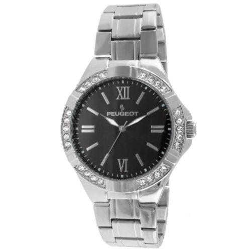 (Peugeot 1043S Men's Crystal Accent Bezel Silver-tone Watch)