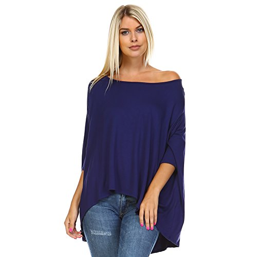 Isaac Liev Women's Batwing Off Shoulder Baggy Oversized Loose Shirt Top (X-Large, Navy)