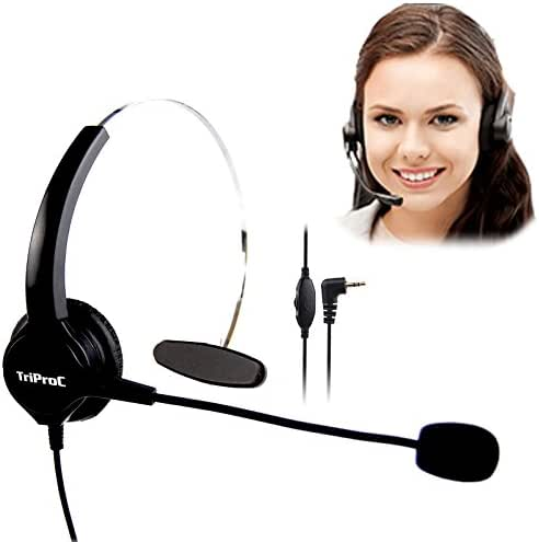 TRIPROC Monaural DC 2.5MM Telephone Headset for Landline Phones,Compatible for Jabra Cisco Polycom Panasonic (Monaural)