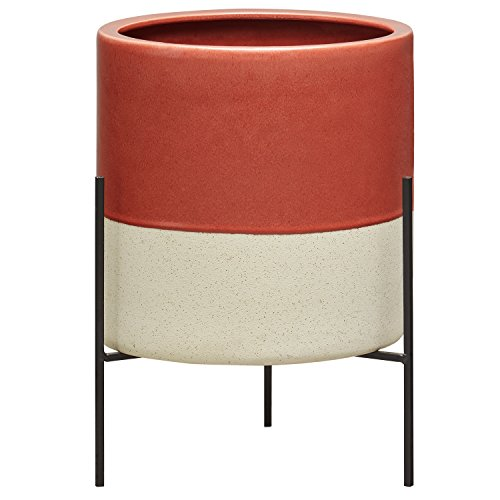 Rivet Mid-Century Modern Ceramic Indoor Outdoor Planter Flower Pot with Iron Stand - 17 Inch, Salmon ()