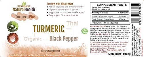 Botaniceutics Organic Turmeric and Black Pepper – 500 Mg – 600 Capsules – 5 Bottle Pack. No additives, no fillers. Natural curcumin and pepperine for natural, good health.