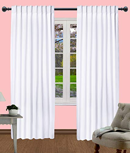 Light & Pro White Kitchen Curtains, Rod Pocket Curtains, Dining Room Curtains, Cotton Curtain Window Panel, Curtains Wide, Cotton reverse Tab Top curtain Panel - 50x108 Inch- White- Set of 2 Panels (Panel White Set Curtain)