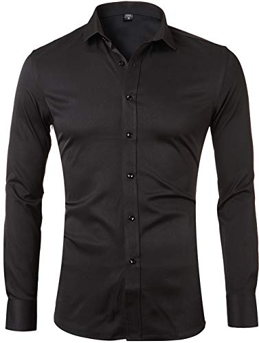 Men's Bamboo Fiber Dress Shirts Slim Fit Solid Long Sleeve Casual Button Down Shirts, Elastic Formal Shirts for Men,Black Shirts,15'Neck 32'Sleeve