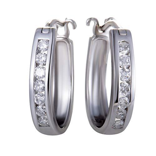 14K White Gold Oval Channel Set Diamond Hoop Huggies Earrings .33 Carat (0.33 ctw) Diamonds