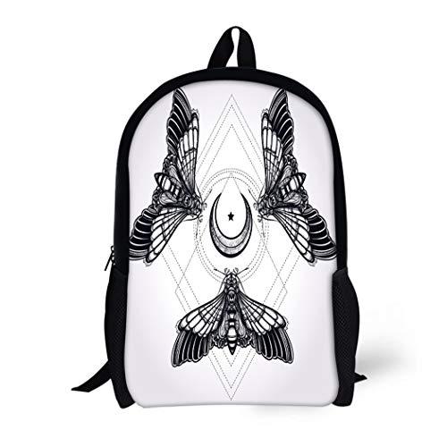 Pinbeam Backpack Travel Daypack Butterflies Moth Moons Sacred Geometry Circle Elegant Tattoo Waterproof School Bag