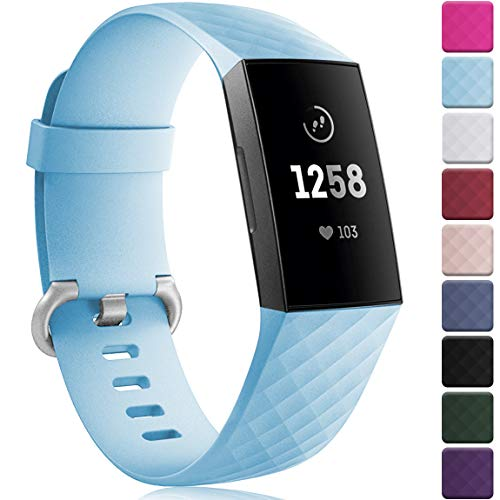 Maledan Bands Replacement for Fitbit Charge 3 and Charge 3 SE Advanced Fitness Activity Tracker, Classic Bracelet Sport Strap Wristband for Women Men, Small, Light Blue