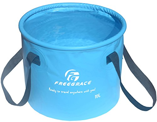 Freegrace Premium Collapsible Bucket -Multifunctional Folding Bucket -Perfect Gear for Camping, Hiking & Travel(Sky Blue,10L) ()