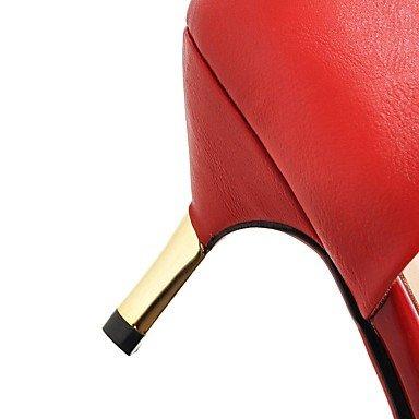 Noche Tacón Boda Blanco del Stiletto y Vestido Fiesta Mujer Red LvYuan club Negro Semicuero Sandalias Zapatos Rojo 5wqPPF