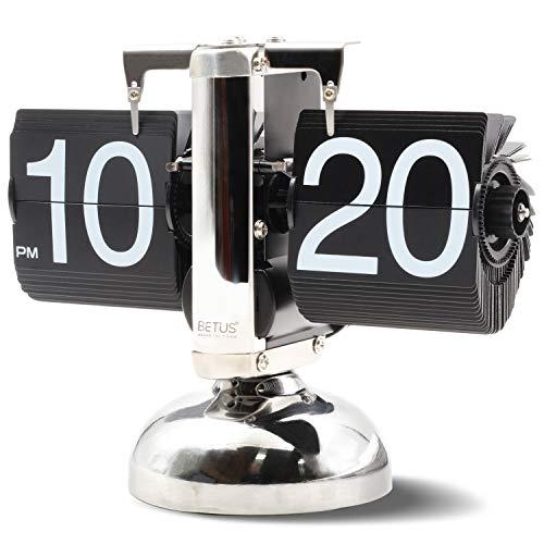 Betus Reloj de Estante de Escritorio con Tapa Estilo Retro Pantalla Digital mecanica clasica con bateria - Decoracion para el hogar y la Oficina 8 x 6.5 x 3 Pulgadas (Negro)