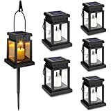 6-Pack Solar Hanging Lantern Outdoor, Candle