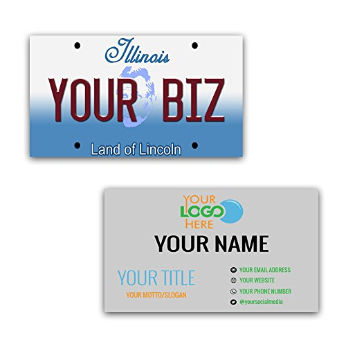 BleuReign(TM) Personalized Custom Aluminum Illinois License Plate Double Sided Business Cards set of 100 - with FREE BUSINESS CARD HOLDER