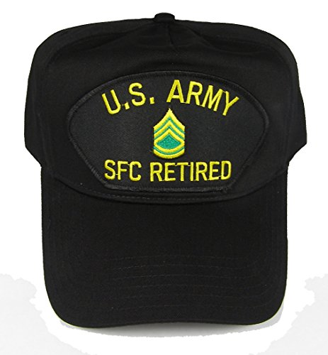 U S ARMY SFC RETIRED with SERGEANT FIRST CLASS RANK INSIGNIA HAT - Black - Veteran Owned -