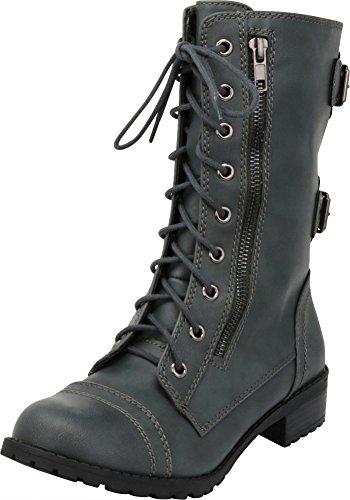 Cambridge Select Women's Lace-Up Round Toe Buckle Zipper Chunky Heel Combat Boot,8 B(M) US,Grey Pu ()