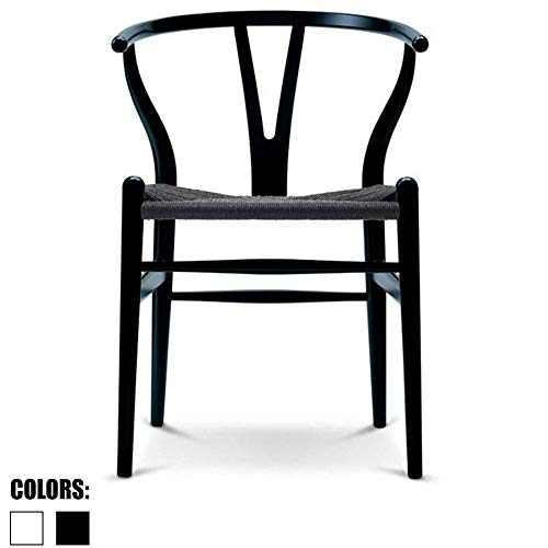 2xhome Black Wishbone Wood Armchair with Arms Open Y Back Open Mid Century Modern Contemporary Office Chair Dining Chairs Woven Black Seat Living Desk ()